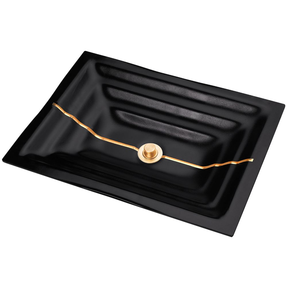"Linkasink Bathroom Sinks - Artisan Glass - AG01B-04BRS - STRIPE Medium Rectangle - Black Glass with Brass Accent - Undermount - OD: 20"" x 14"" x 4"" - ID: 18"" x 12"" - Drain: 1.5"" - Click Image to Close"