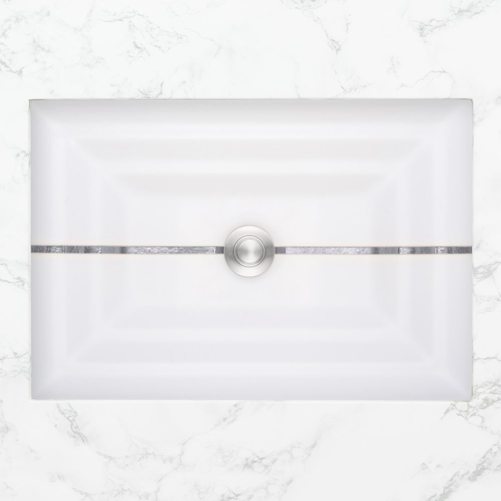 "Linkasink Bathroom Sinks - Artisan Glass - AG01C-01SLV - STRIPE Large Rectangle - White Glass with Silver Accent - Undermount - OD: 23"" x 15"" x 4"" - ID: 20.5"" x 12.5"" - Drain: 1.5"""