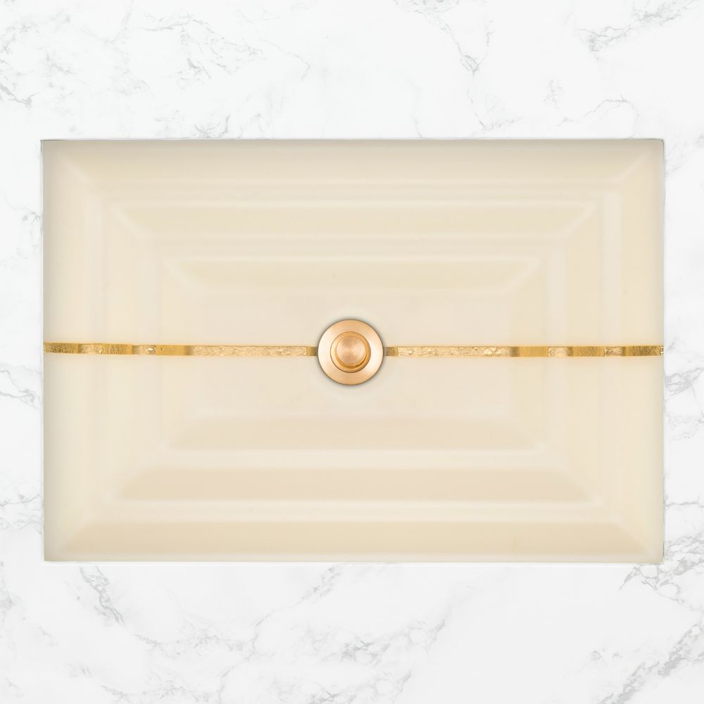"Linkasink Bathroom Sinks - Artisan Glass - AG01C-02GLD - STRIPE Large Rectangle - Cream Glass with Gold Accent - Undermount - OD: 23"" x 15"" x 4"" - ID: 20.5"" x 12.5"" - Drain: 1.5"""