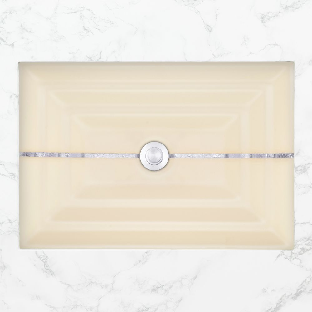 "Linkasink Bathroom Sinks - Artisan Glass - AG01C-02SLV - STRIPE Large Rectangle - Cream Glass with Silver Accent - Undermount - OD: 23"" x 15"" x 4"" - ID: 20.5"" x 12.5"" - Drain: 1.5"""