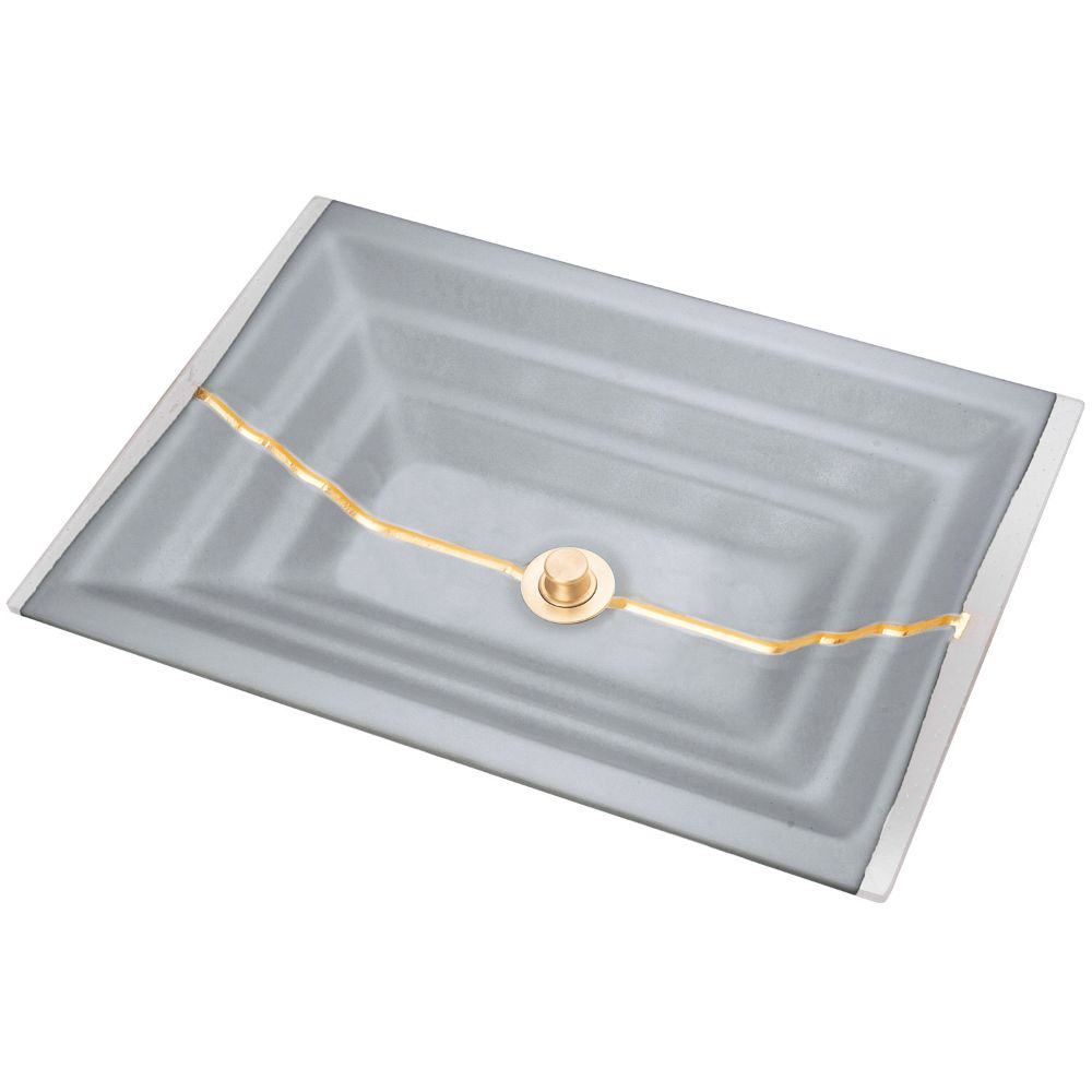 "Linkasink Bathroom Sinks - Artisan Glass - AG01C-03BRS - STRIPE Large Rectangle - Gray Glass with Brass Accent - Undermount - OD: 23"" x 15"" x 4"" - ID: 20.5"" x 12.5"" - Drain: 1.5"""