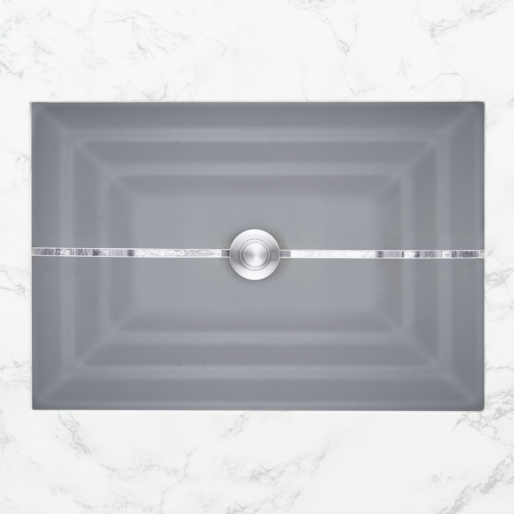"Linkasink Bathroom Sinks - Artisan Glass - AG01C-03SLV - STRIPE Large Rectangle - Gray Glass with Silver Accent - Undermount - OD: 23"" x 15"" x 4"" - ID: 20.5"" x 12.5"" - Drain: 1.5"""