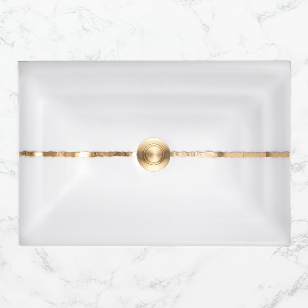 "Linkasink Bathroom Sinks - Artisan Glass - AG02A-01GLD - RIVER Small Rectangle - White Glass with Gold Accent - Undermount - OD: 18"" x 12"" x 4"" - ID: 15.5"" x 10"" - Drain: 1.5"""