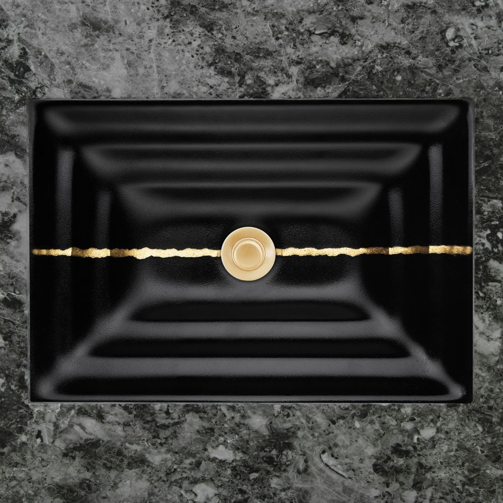 "Linkasink Bathroom Sinks - Artisan Glass - AG02A-04BRS - RIVER Small Rectangle - Black Glass with Brass Accent - Undermount - OD: 18"" x 12"" x 4"" - ID: 15.5"" x 10"" - Drain: 1.5"""