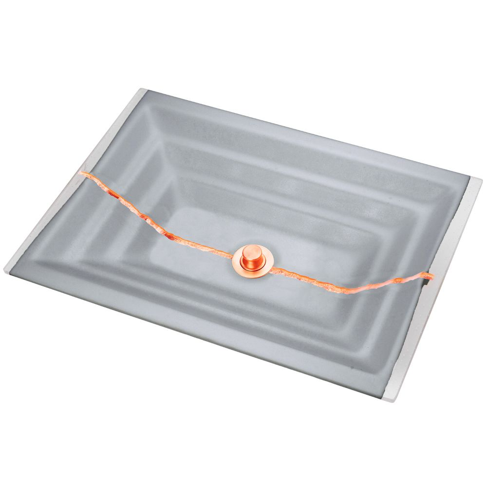 "Linkasink Bathroom Sinks - Artisan Glass - AG02B-03COP - RIVER Medium Rectangle - Gray Glass with Copper Accent - Undermount - OD: 20"" x 14"" x 4"" - ID: 18"" x 12"" - Drain: 1.5"""