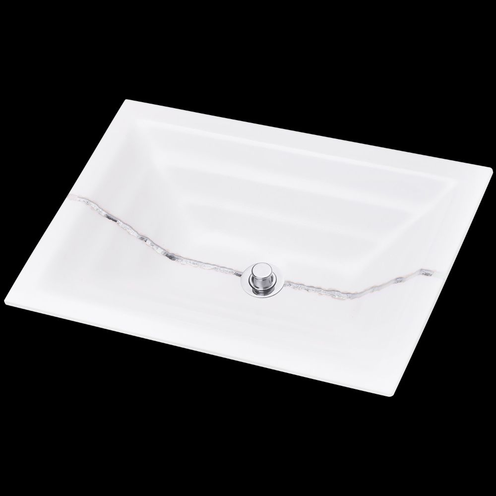 "Linkasink Bathroom Sinks - Artisan Glass - AG02C-01SLV - RIVER Large Rectangle - White Glass with Silver Accent - Undermount - OD: 23"" x 15"" x 4"" - ID: 20.5"" x 12.5"" - Drain: 1.5"""