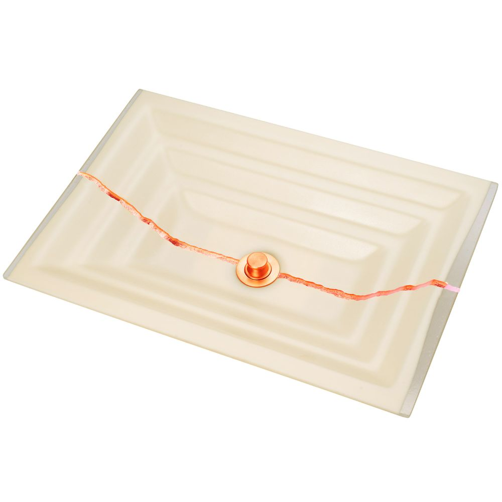 "Linkasink Bathroom Sinks - Artisan Glass - AG02C-02COP - RIVER Large Rectangle - Cream Glass with Copper Accent - Undermount - OD: 23"" x 15"" x 4"" - ID: 20.5"" x 12.5"" - Drain: 1.5"""