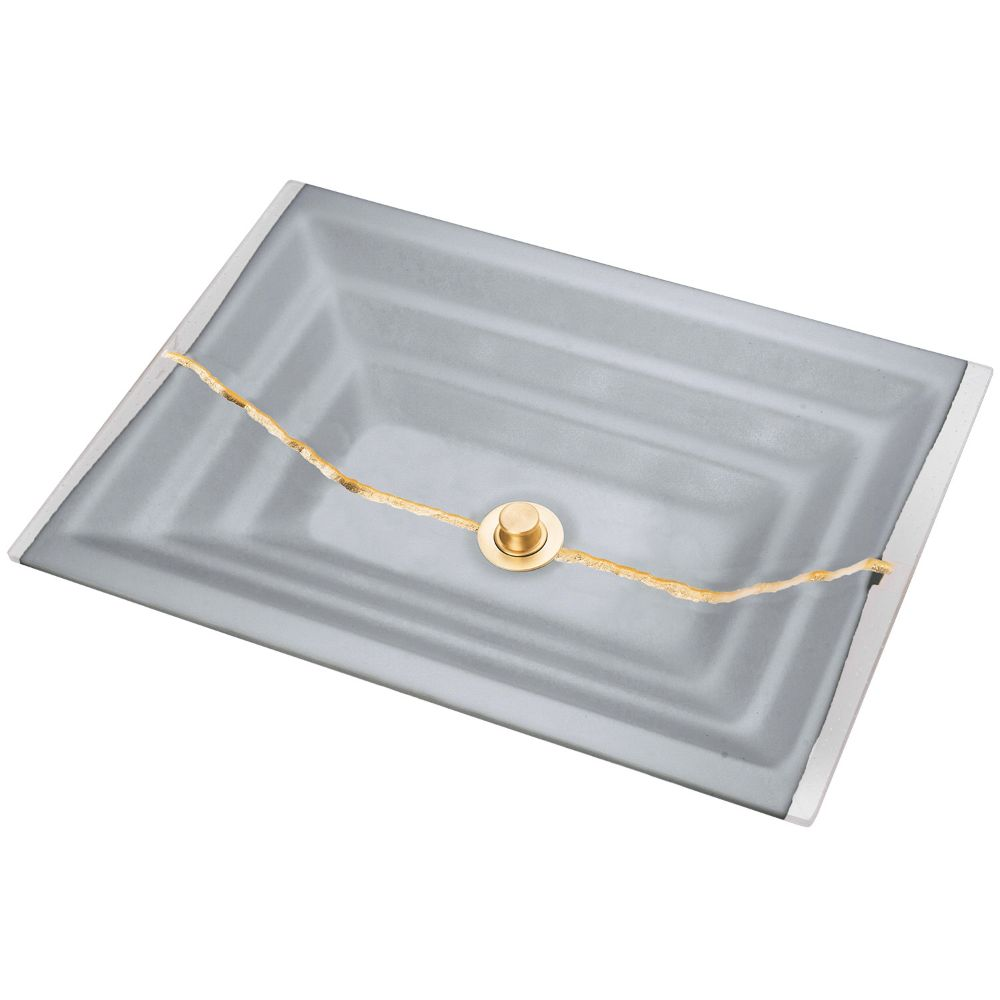 "Linkasink Bathroom Sinks - Artisan Glass - AG02C-03BRS - RIVER Large Rectangle - Gray Glass with Brass Accent - Undermount - OD: 23"" x 15"" x 4"" - ID: 20.5"" x 12.5"" - Drain: 1.5"" - Click Image to Close"