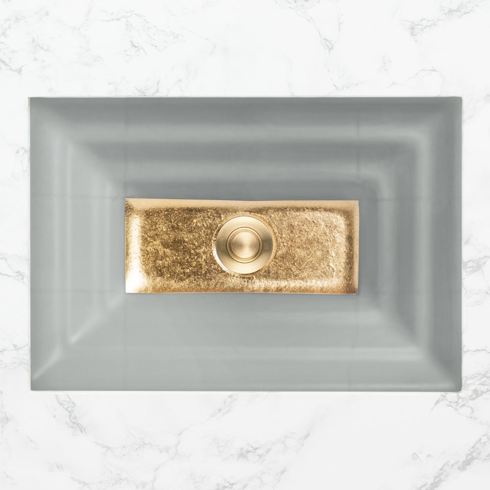 "Linkasink Bathroom Sinks - Artisan Glass - AG03A-03BRS - WINDOW Small Rectangle - Gray Glass with Brass Accent - Undermount - OD: 18"" x 12"" x 4"" - ID: 15.5"" x 10"" - Drain: 1.5"""