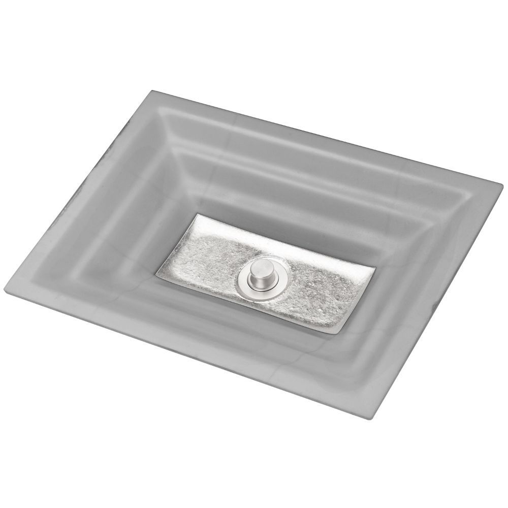 "Linkasink Bathroom Sinks - Artisan Glass - AG03A-03SLV - WINDOW Small Rectangle - Gray Glass with Silver Accent - Undermount - OD: 18"" x 12"" x 4"" - ID: 15.5"" x 10"" - Drain: 1.5"""