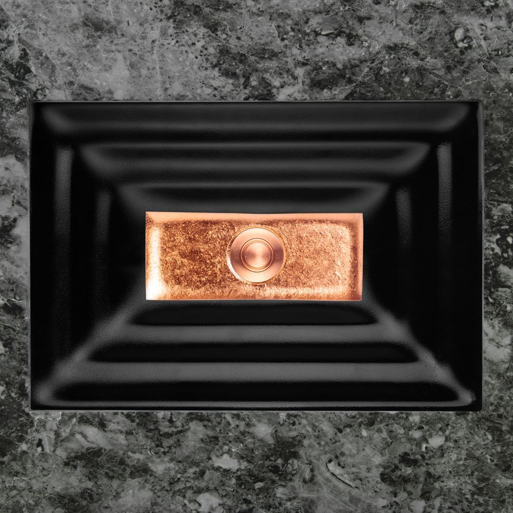 "Linkasink Bathroom Sinks - Artisan Glass - AG03A-04COP - WINDOW Small Rectangle - Black Glass with Copper Accent - Undermount - OD: 18"" x 12"" x 4"" - ID: 15.5"" x 10"" - Drain: 1.5"""