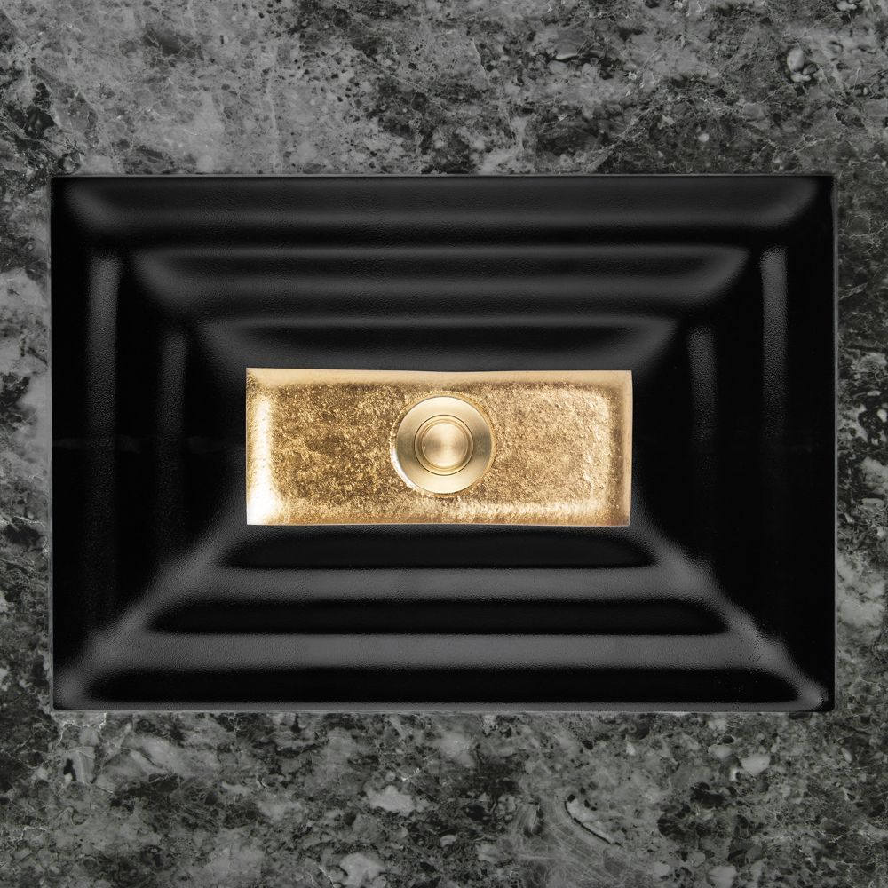 "Linkasink Bathroom Sinks - Artisan Glass - AG03A-04GLD - WINDOW Small Rectangle - Black Glass with Gold Accent - Undermount - OD: 18"" x 12"" x 4"" - ID: 15.5"" x 10"" - Drain: 1.5"""