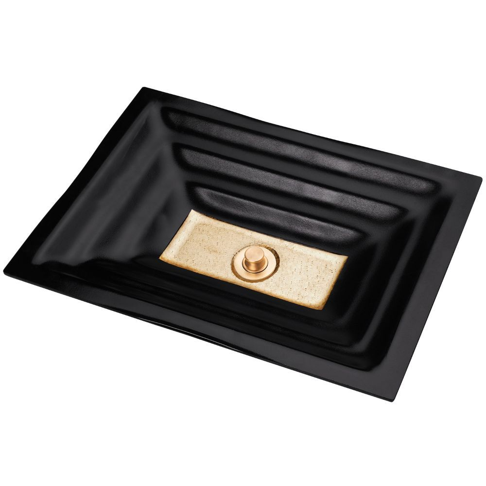"Linkasink Bathroom Sinks - Artisan Glass - AG03A-04GLD - WINDOW Small Rectangle - Black Glass with Gold Accent - Undermount - OD: 18"" x 12"" x 4"" - ID: 15.5"" x 10"" - Drain: 1.5"" - Click Image to Close"