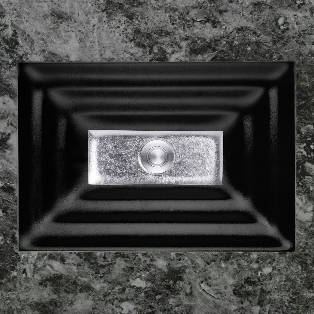 "Linkasink Bathroom Sinks - Artisan Glass - AG03A-04SLV - WINDOW Small Rectangle - Black Glass with Silver Accent - Undermount - OD: 18"" x 12"" x 4"" - ID: 15.5"" x 10"" - Drain: 1.5"""