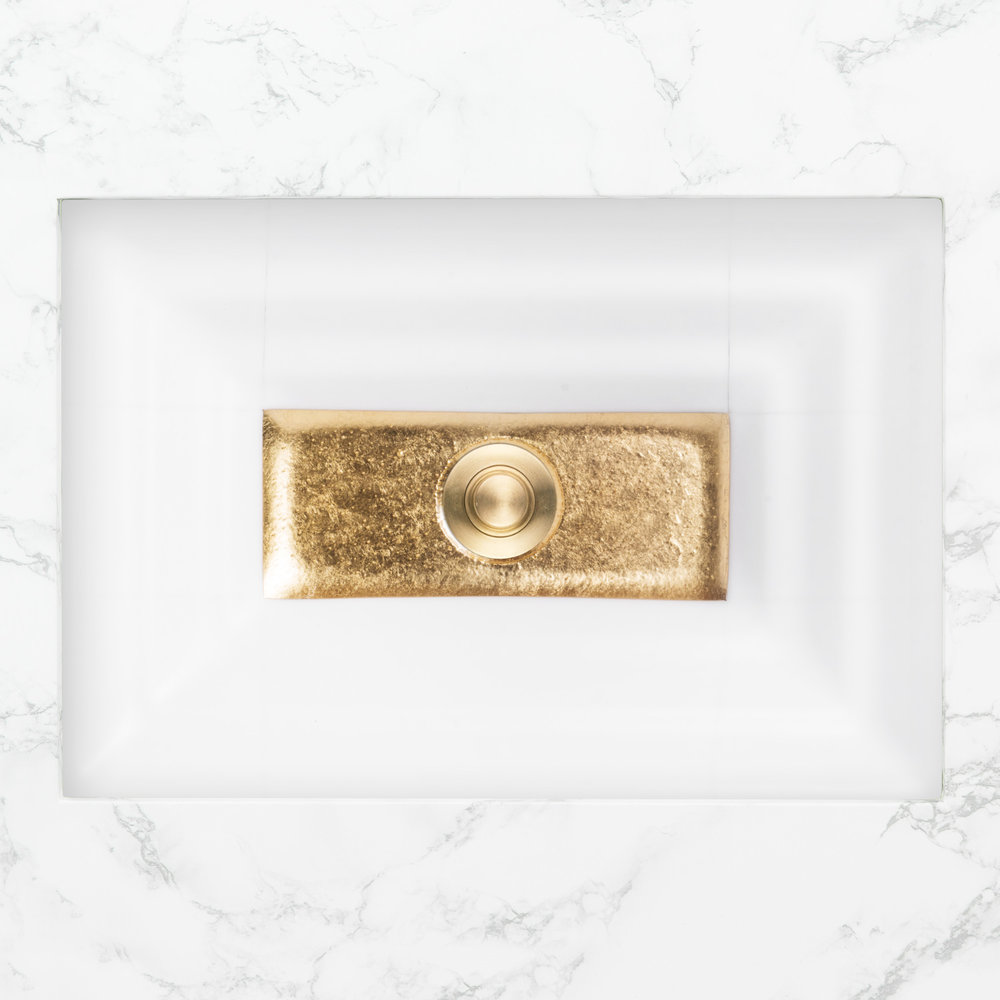 "Linkasink Bathroom Sinks - Artisan Glass - AG03B-01GLD - WINDOW Medium Rectangle - White Glass with Gold Accent - Undermount - OD: 20"" x 14"" x 4"" - ID: 18"" x 12"" - Drain: 1.5"""