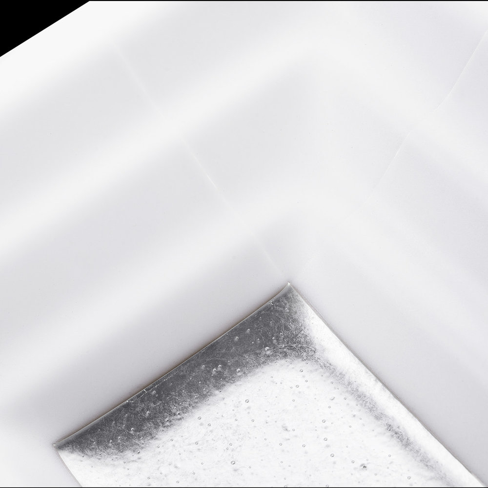 "Linkasink Bathroom Sinks - Artisan Glass - AG03B-01SLV - WINDOW Medium Rectangle - White Glass with Silver Accent - Undermount - OD: 20"" x 14"" x 4"" - ID: 18"" x 12"" - Drain: 1.5"" - Click Image to Close"