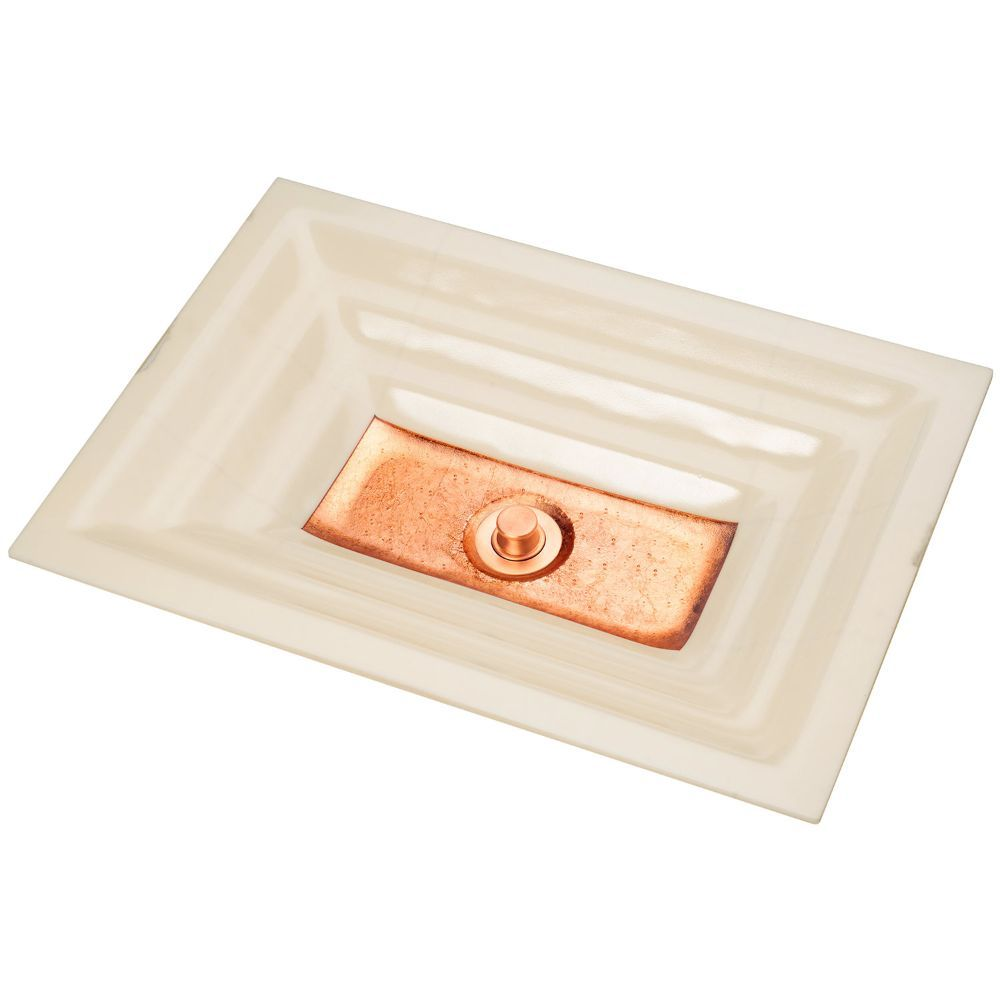 "Linkasink Bathroom Sinks - Artisan Glass - AG03B-02COP - WINDOW Medium Rectangle - Cream Glass with Copper Accent - Undermount - OD: 20"" x 14"" x 4"" - ID: 18"" x 12"" - Drain: 1.5"""