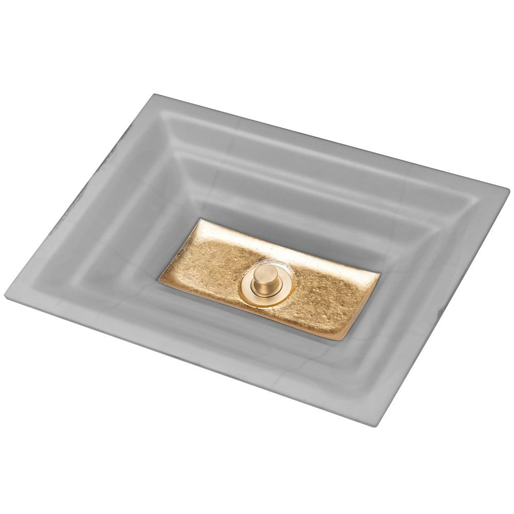 "Linkasink Bathroom Sinks - Artisan Glass - AG03B-03GLD - WINDOW Medium Rectangle - Gray Glass with Gold Accent - Undermount - OD: 20"" x 14"" x 4"" - ID: 18"" x 12"" - Drain: 1.5"" - Click Image to Close"