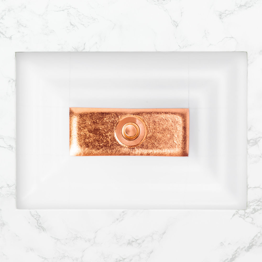 "Linkasink Bathroom Sinks - Artisan Glass - AG03C-01COP - WINDOW Large Rectangle - White Glass with Copper Accent - Undermount - OD: 23"" x 15"" x 4"" - ID: 20.5"" x 12.5"" - Drain: 1.5"""