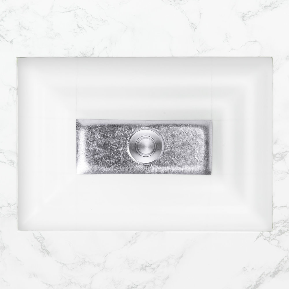 "Linkasink Bathroom Sinks - Artisan Glass - AG03C-01SLV - WINDOW Large Rectangle - White Glass with Silver Accent - Undermount - OD: 23"" x 15"" x 4"" - ID: 20.5"" x 12.5"" - Drain: 1.5"""
