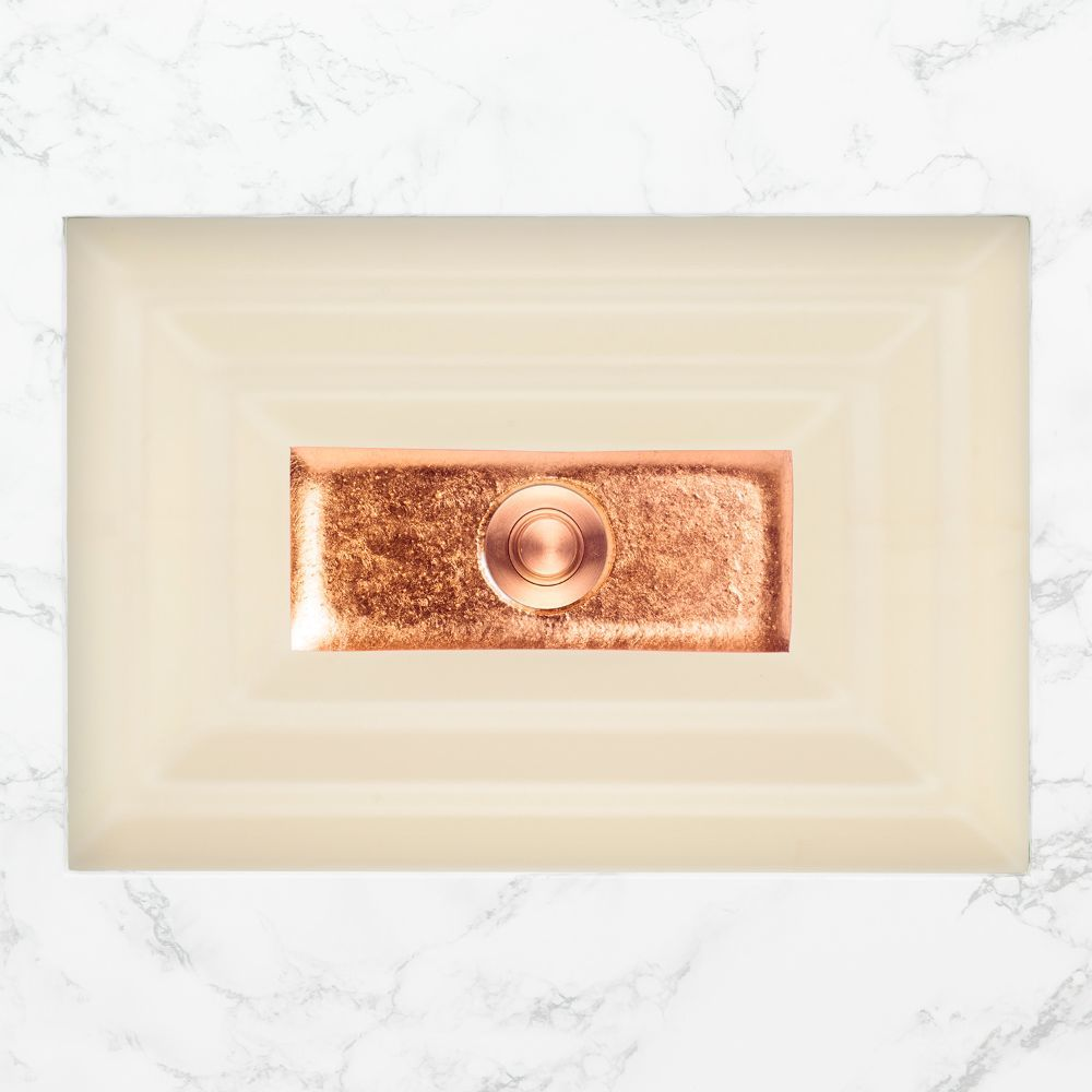 "Linkasink Bathroom Sinks - Artisan Glass - AG03C-02COP - WINDOW Large Rectangle - Cream Glass with Copper Accent - Undermount - OD: 23"" x 15"" x 4"" - ID: 20.5"" x 12.5"" - Drain: 1.5"""