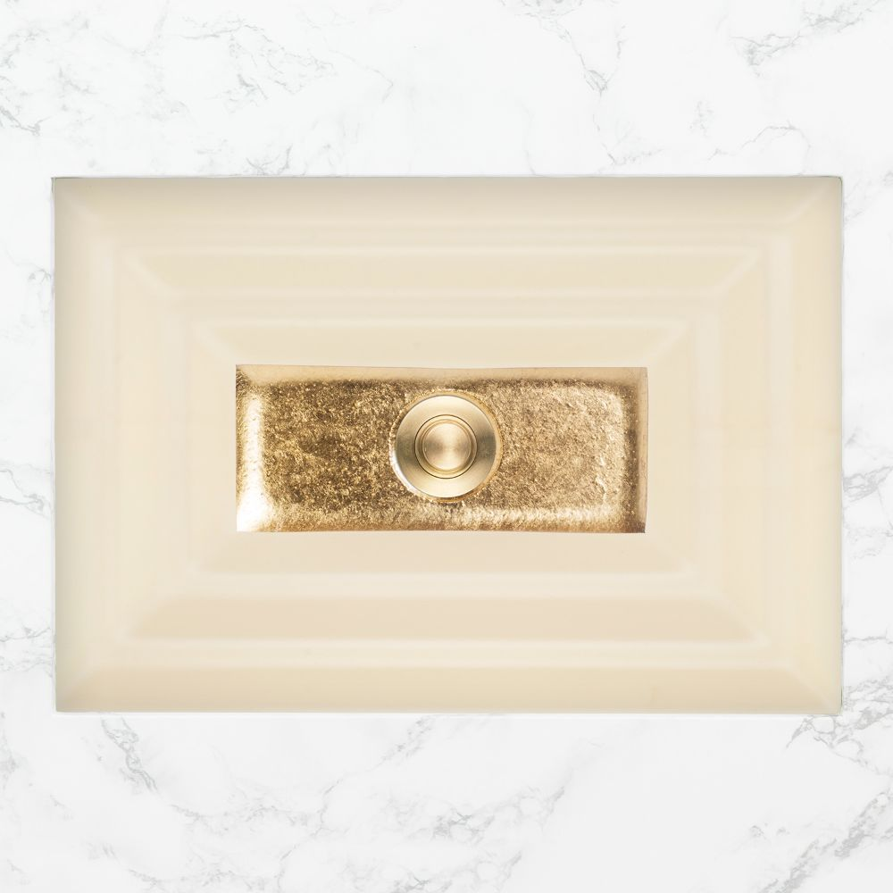 "Linkasink Bathroom Sinks - Artisan Glass - AG03C-02GLD - WINDOW Large Rectangle - Cream Glass with Gold Accent - Undermount - OD: 23"" x 15"" x 4"" - ID: 20.5"" x 12.5"" - Drain: 1.5"""
