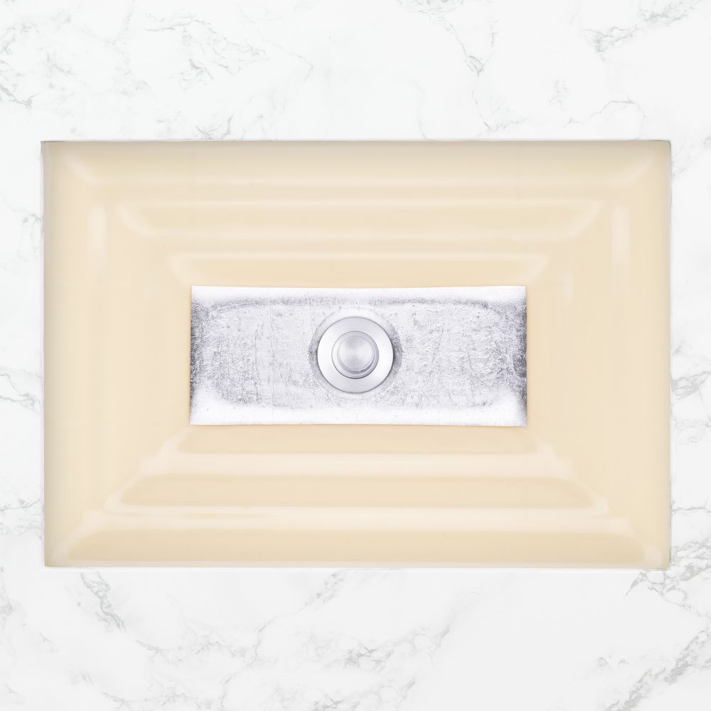 "Linkasink Bathroom Sinks - Artisan Glass - AG03C-02SLV - WINDOW Large Rectangle - Cream Glass with Silver Accent - Undermount - OD: 23"" x 15"" x 4"" - ID: 20.5"" x 12.5"" - Drain: 1.5"""