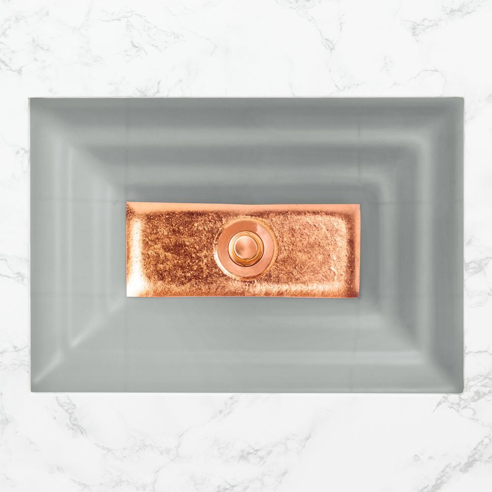 "Linkasink Bathroom Sinks - Artisan Glass - AG03C-03COP - WINDOW Large Rectangle - Gray Glass with Copper Accent - Undermount - OD: 23"" x 15"" x 4"" - ID: 20.5"" x 12.5"" - Drain: 1.5"""