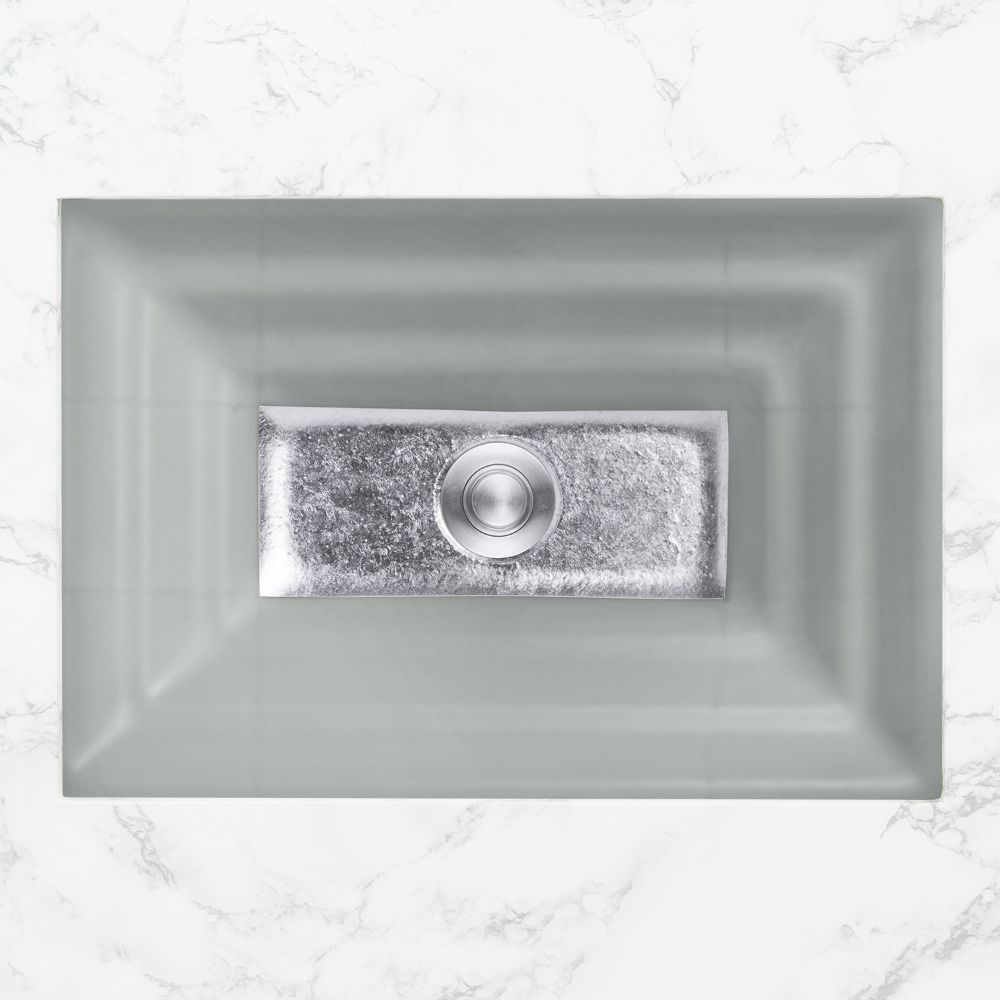 "Linkasink Bathroom Sinks - Artisan Glass - AG03C-03SLV - WINDOW Large Rectangle - Gray Glass with Silver Accent - Undermount - OD: 23"" x 15"" x 4"" - ID: 20.5"" x 12.5"" - Drain: 1.5"""
