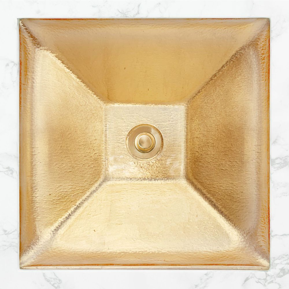 "Linkasink Bathroom Sinks - Artisan Glass - AG04F-GLD - SOLID ÉGLOMISÉ Large Square - Glass with Gold - Undermount - OD: 18"" x 18"" x 4.5"" - ID: 15.5"" x 15.5"" - Drain: 1.5"""