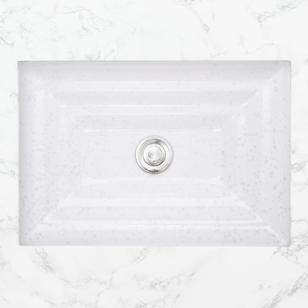 "Linkasink Bathroom Sinks - Artisan Glass - AG05A-01 - BUBBLES Small Rectangle - White + Clear Glass - Undermount - OD: 18"" x 12"" x 4"" - ID: 15.5"" x 10"" - Drain: 1.5"""