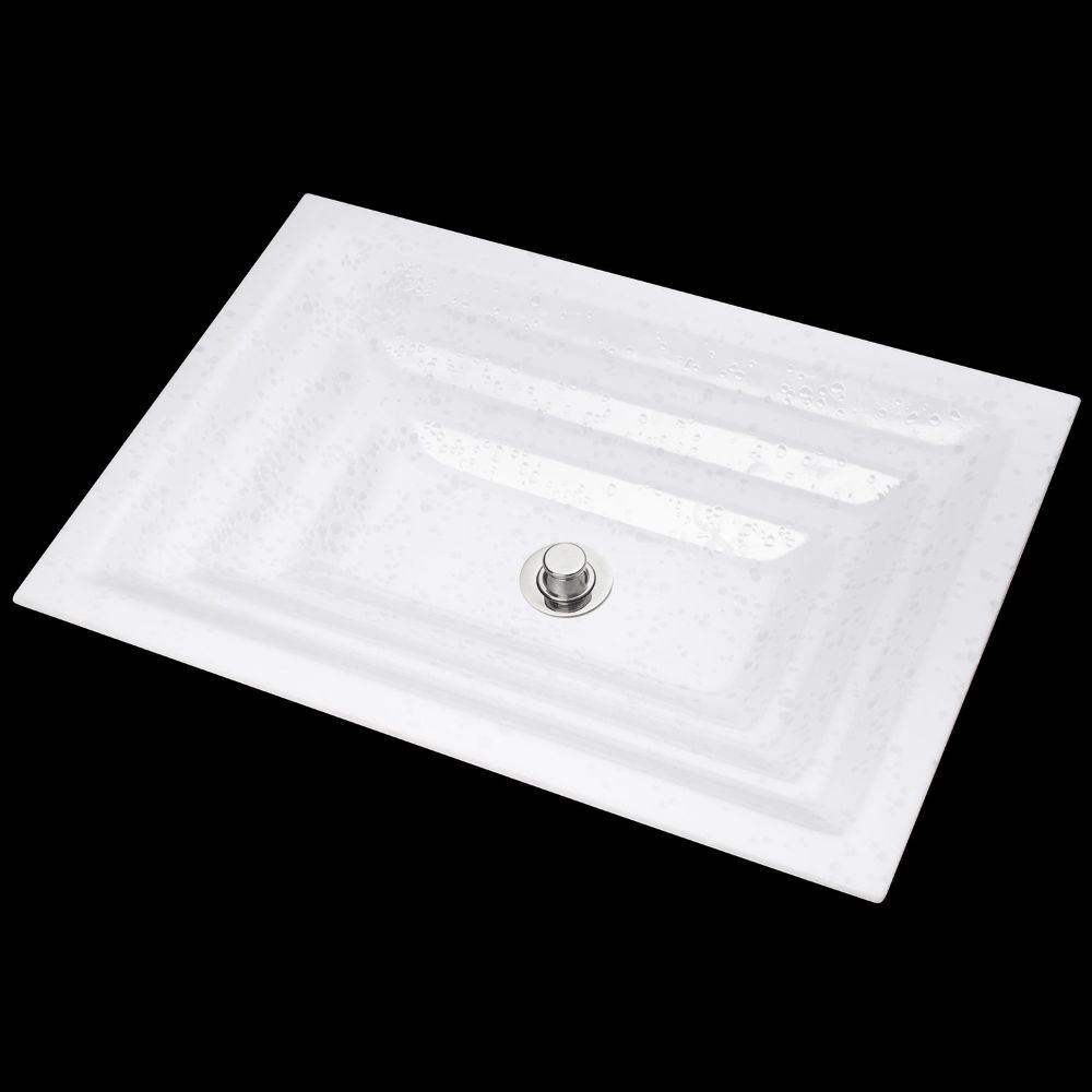 "Linkasink Bathroom Sinks - Artisan Glass - AG05C-01 - BUBBLES Large Rectangle - White + Clear Glass - Undermount - OD: 23"" x 15"" x 4"" - ID: 20.5"" x 12.5"" - Drain: 1.5"" - Click Image to Close"