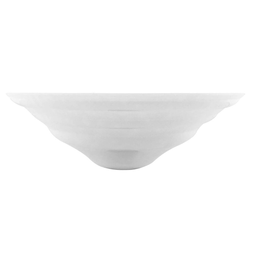"Linkasink Bathroom Sinks - Artisan Glass - AG05H-01 - BUBBLES Large Round Vessel - White + Clear Glass - Vessel Sink - OD: 16.5"" x 5.5"" - Drain: 1.5"""