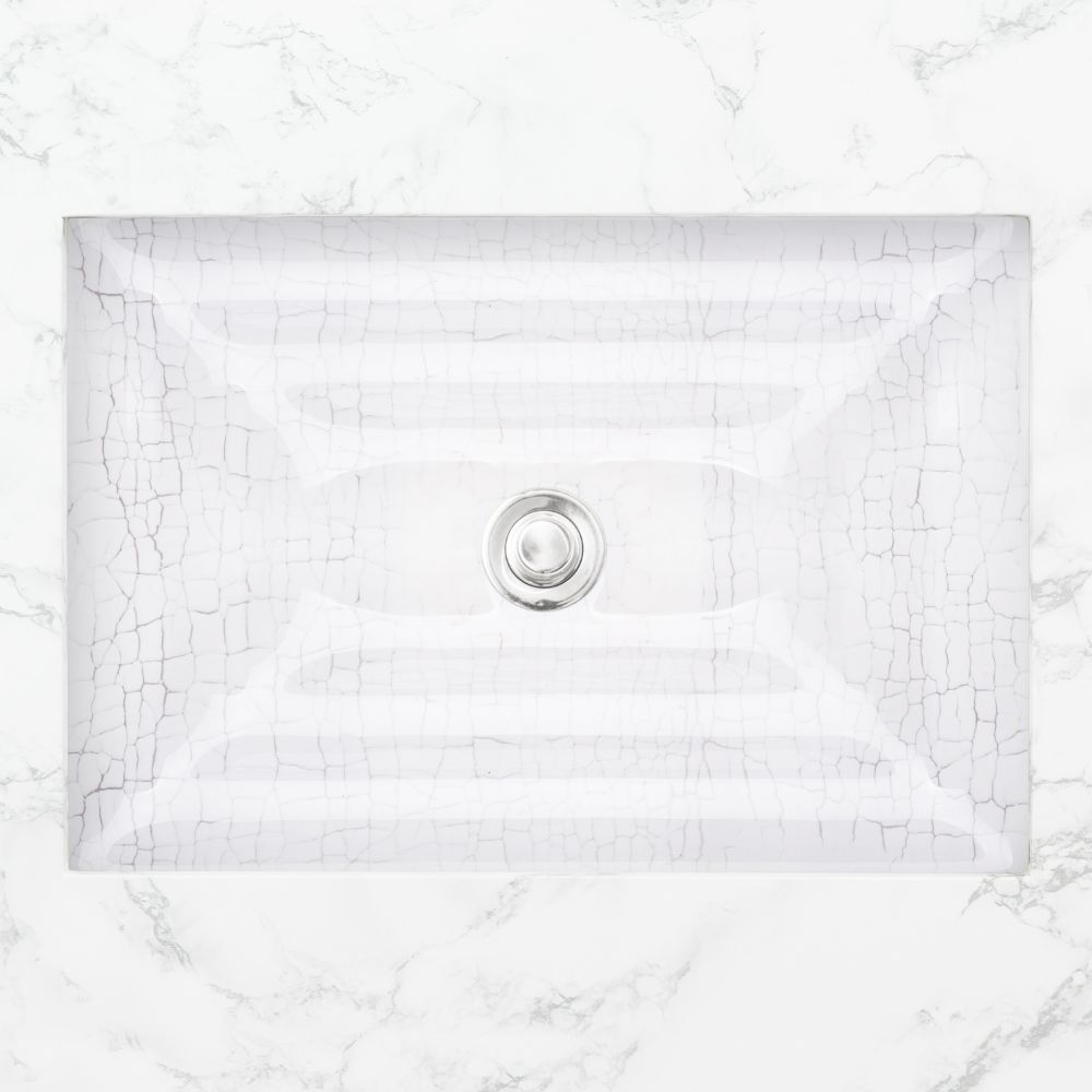 "Linkasink Bathroom Sinks - Artisan Glass - AG06C-01 - CRACKLE Large Rectangle - White + Clear Glass - Undermount - OD: 23"" x 15"" x 4"" - ID: 20.5"" x 12.5"" - Drain: 1.5"""