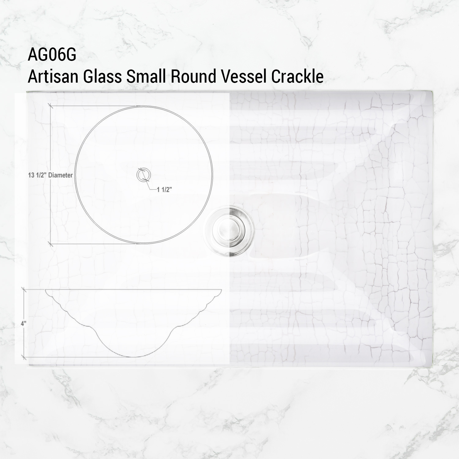 "Linkasink Bathroom Sinks - Artisan Glass - AG06G-01 - CRACKLE Small Round Vessel - White + Clear Glass - Vessel Sink - OD: 13.5"" x 4"" - Drain: 1.5"""