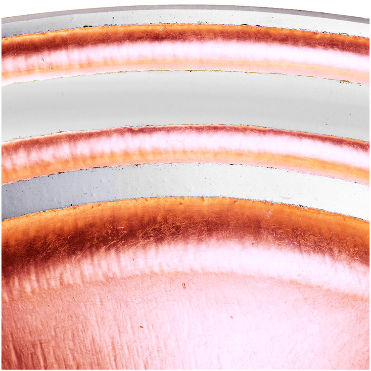 "Linkasink Bathroom Sinks - Artisan Glass - AG07G-COP - BANDED ÉGLOMISÉ Small Round Vessel - Glass with Copper - Vessel Sink - OD: 13.5"" x 4"" - Drain: 1.5"""