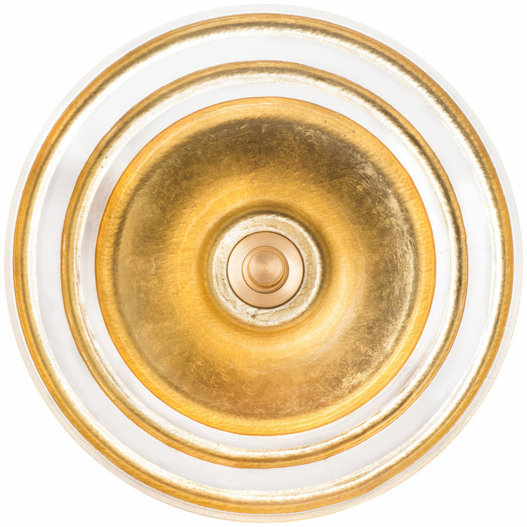 "Linkasink Bathroom Sinks - Artisan Glass - AG07H-BRS - BANDED ÉGLOMISÉ Large Round Vessel - Glass with Brass - Vessel Sink - OD: 16.5"" x 5.5"" - Drain: 1.5"""