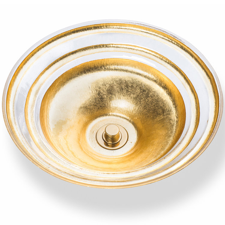 "Linkasink Bathroom Sinks - Artisan Glass - AG07H-GLD - BANDED ÉGLOMISÉ Large Round Vessel - Glass with Gold - Vessel Sink - OD: 16.5"" x 5.5"" - Drain: 1.5"""