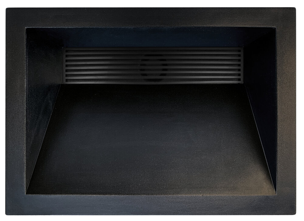 "Linkasink Bathroom Sinks - Concrete - AC01DI BLK - HENRY - Concrete Rectangle Sloped with Grate Recess Sink - Black - Drop-in - 21"" x 15"" x 5.75"" - Interior 18"" x 12"""