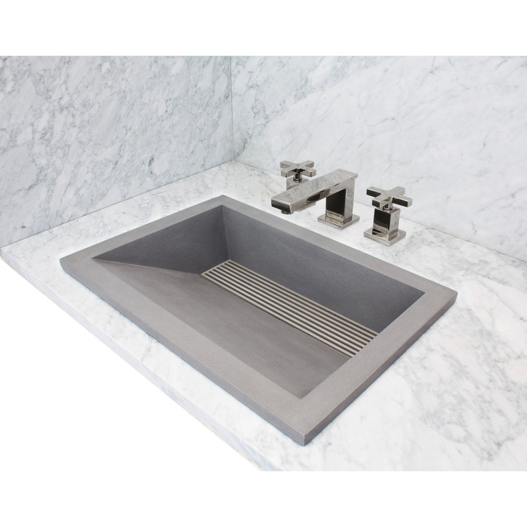 "Linkasink Bathroom Sinks - Concrete - AC01DI G - HENRY - Concrete Rectangle Sloped with Grate Recess Sink - Gray - Drop-in - 21"" x 15"" x 5.75"" - Interior 18"" x 12"""