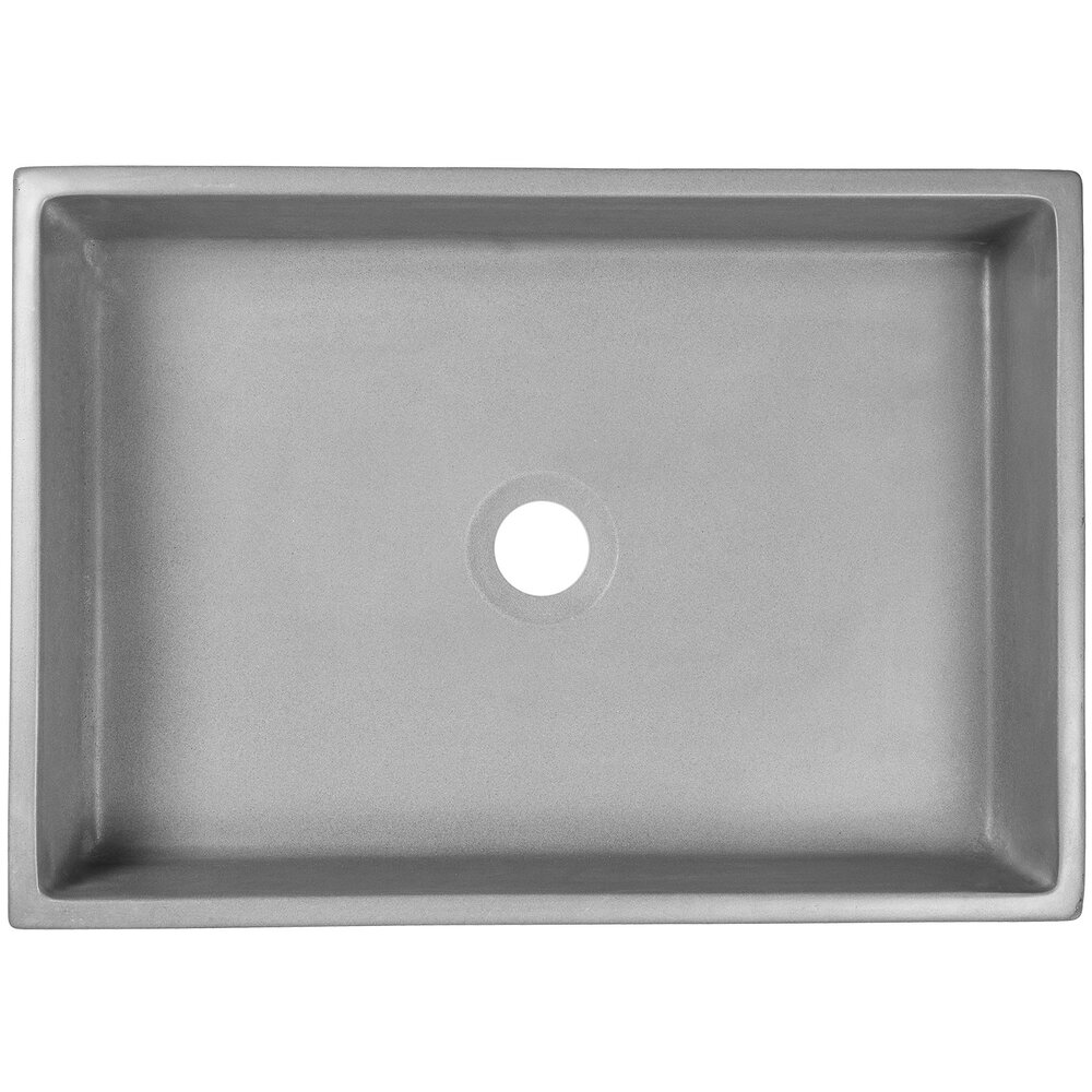 "Linkasink Bathroom Sinks - Concrete - AC03 G - PHOEBE - Concrete Rectangle Vessel Sink - Gray - Vessel Sink - 18.625"" x 13.125"" x 4.75"" - Interior 17.625"" x 12.125"""