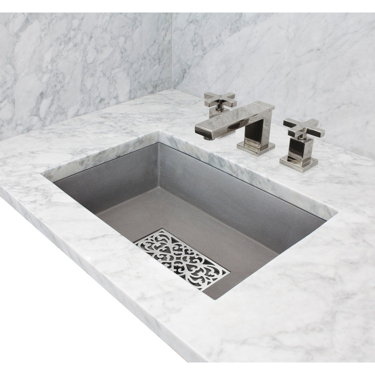 "Linkasink Bathroom Sinks - Concrete - AC05UM G - OLIVER - Concrete Rectangle Sink with Grate Recess - Gray - Undermount - 20.25"" x 14.25"" x 6.25"" - Interior 18"" x 12"""
