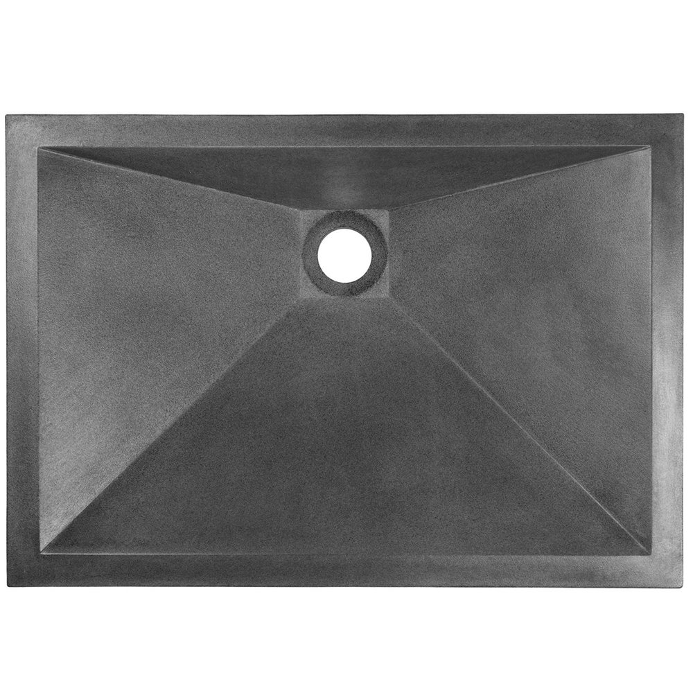 "Linkasink Bathroom Sinks - Concrete - AC06 BLK - RIDER - Concrete Rectangle Sloped Sink - Black - Vessel Sink - 20"" x 14"" x 5"" - Interior 18"" x 12"""