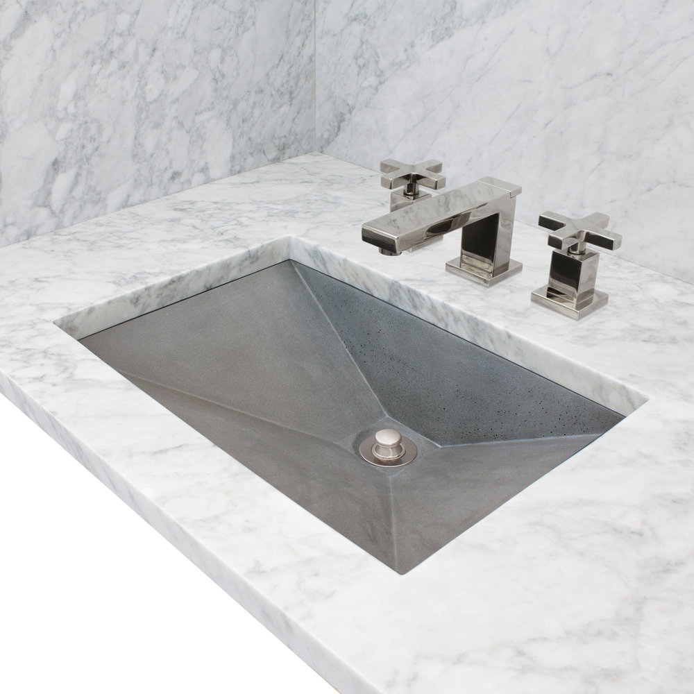 "Linkasink Bathroom Sinks - Concrete - AC06UM G - RIDER - Concrete Rectangle Sloped Sink - Gray - Undermount - 20"" x 14"" x 5"" - Interior 18"" x 12"""