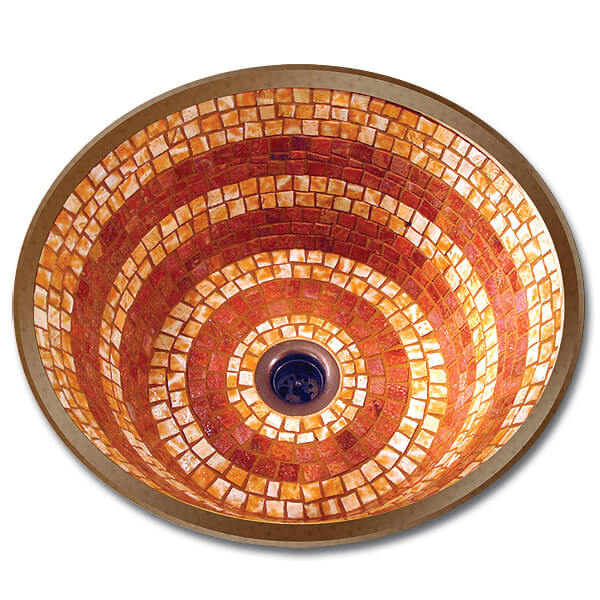 Linkasink Bathroom Sinks - Mosaic - V002 Large Round Flat Bottom Mosaic Bathroom Sink