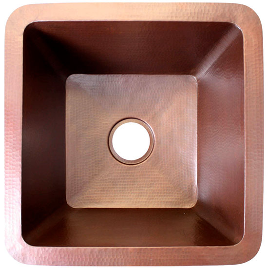 "Linkasink Kitchen Sinks - C008 Copper - Large Square Prep Sink - 3.5"" drain"