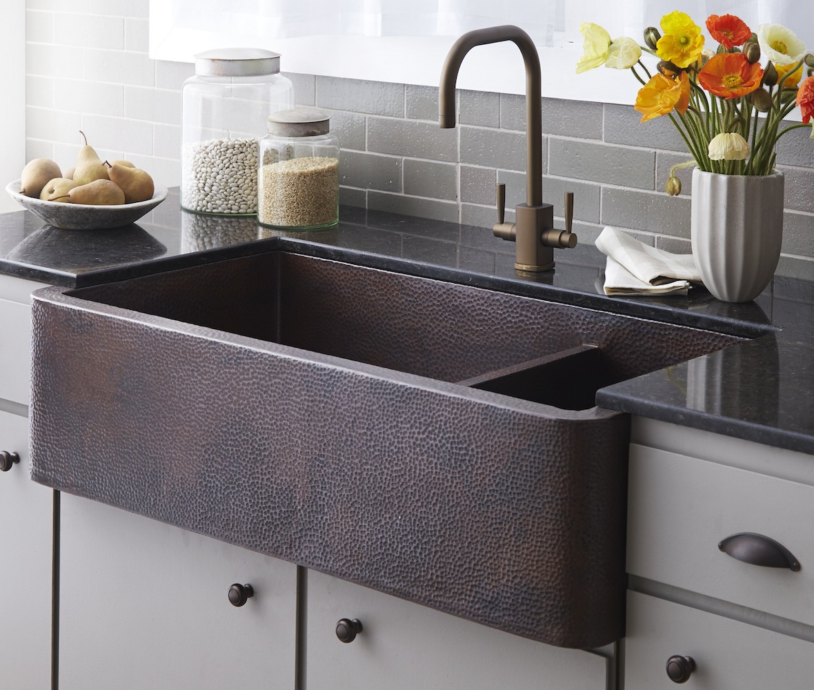 Native Trails Kitchen Sinks - Copper - Farmhouse Duet Pro CPK274 - Antique Finish