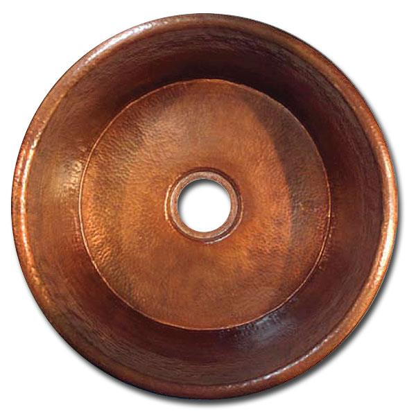 "Linkasink Kitchen Bar Sinks - Copper - C018 Large Flat Round Sink - 2"" drain - 4 Finishes"