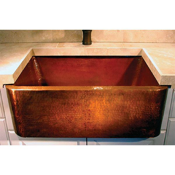 Linkasink Kitchen Farmhouse Sinks - C020-33 Apron Front Kitchen Copper Sink