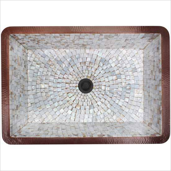 Linkasink Bathroom Sinks - Mosaic - V018 Rectangular Box Copper & Mosaic Tile Sink